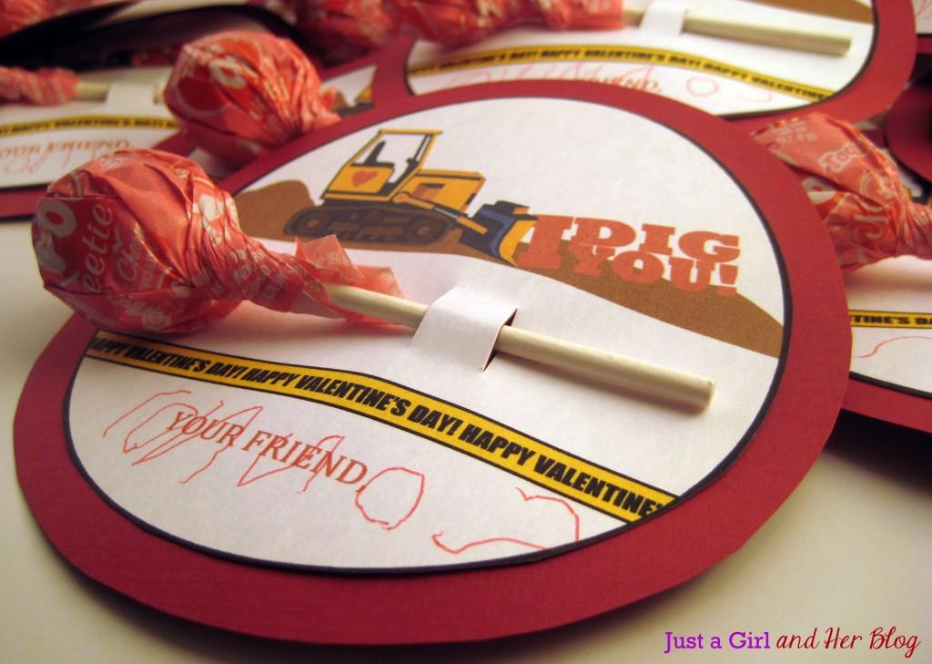 Free Printable Bulldozer Valentine