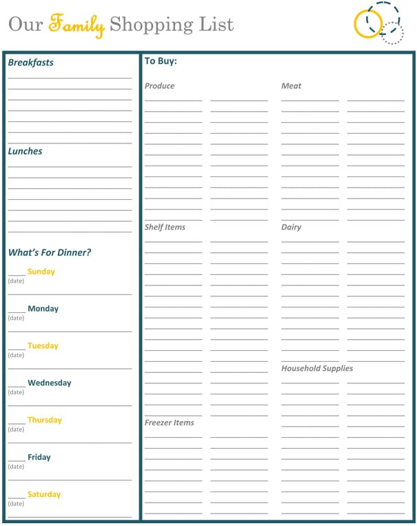 Printable Blank Shopping List  Blank Grocery List Templates