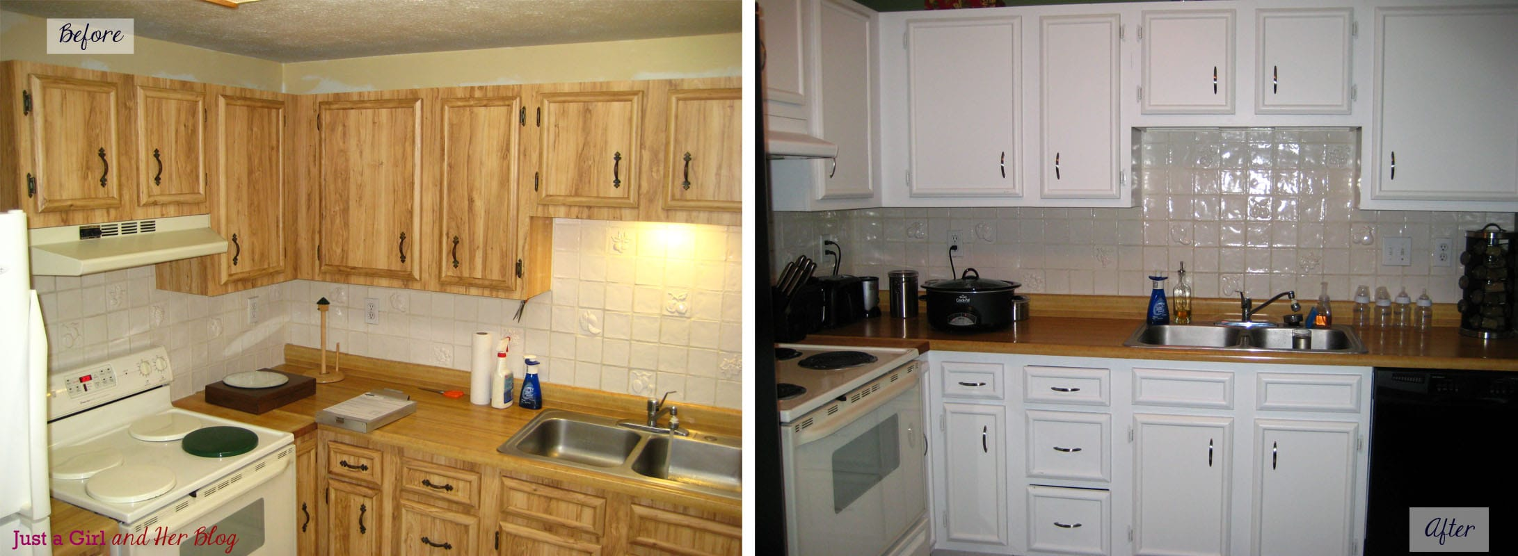 Painted kitchen cabinets before and after for Before and after painting kitchen cabinets white