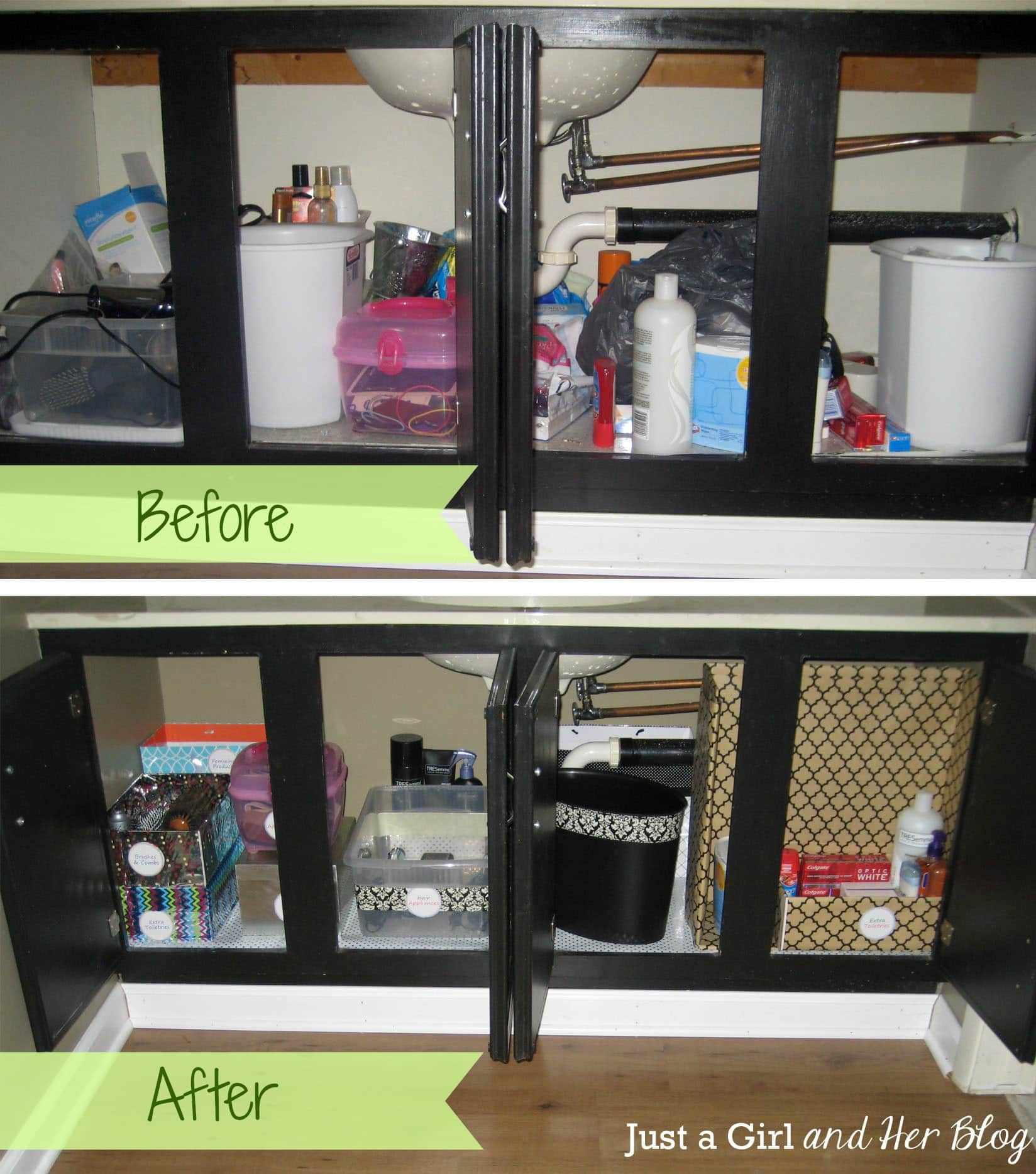 Bathroom cabinet organizers - Before and after organizing