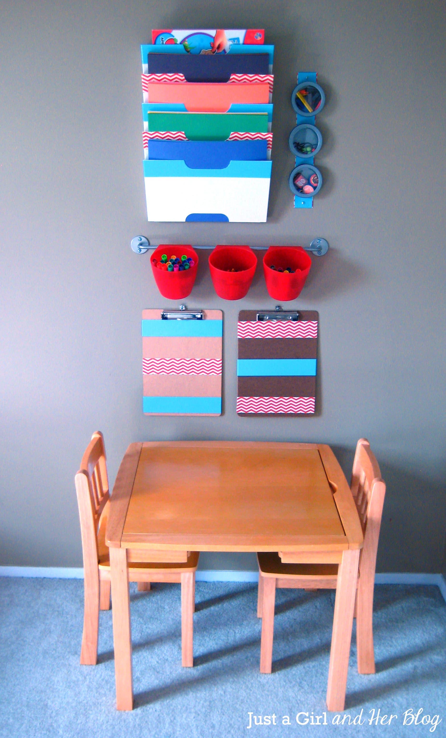 Kids 39 craft corner reveal for Corner space ideas