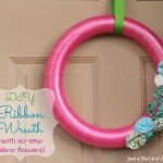 DIY Ribbon Wreath {with no-sew fabric flowers}