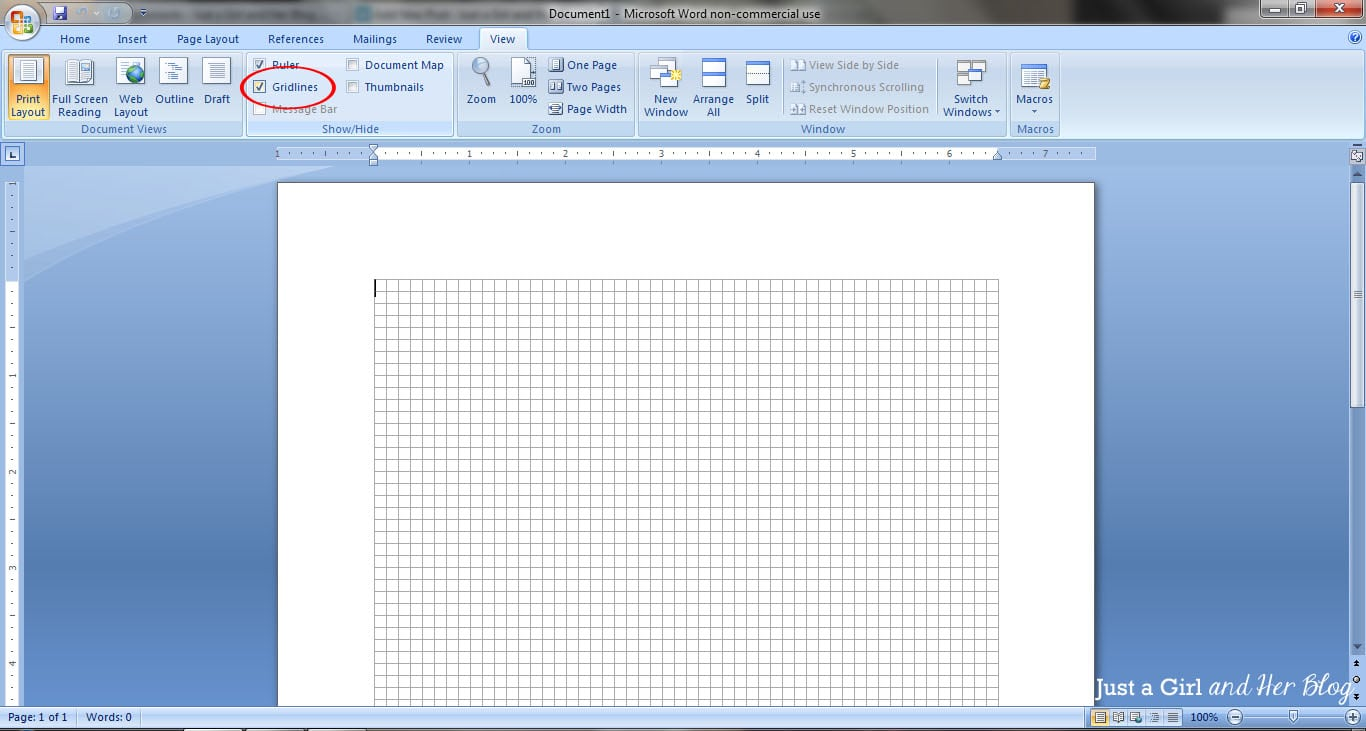 microsoft word grid template