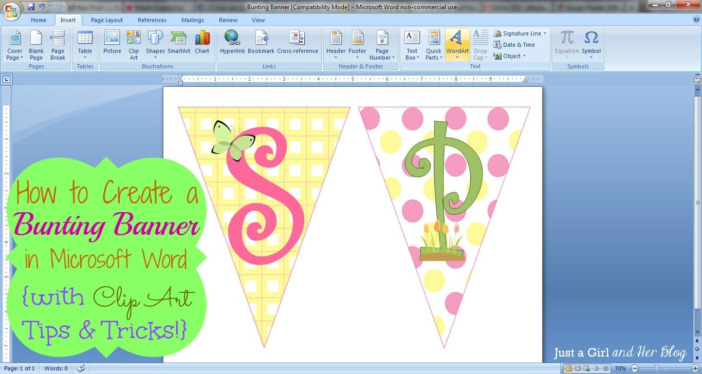 how to make a bunting banner in word with clip art tips and tricks. Black Bedroom Furniture Sets. Home Design Ideas