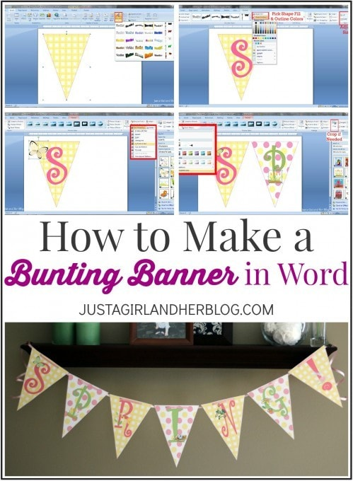 I can't believe you can make this cute bunting banner in Word! This tutorial makes it so easy too! Click through to the post for the detailed instructions!
