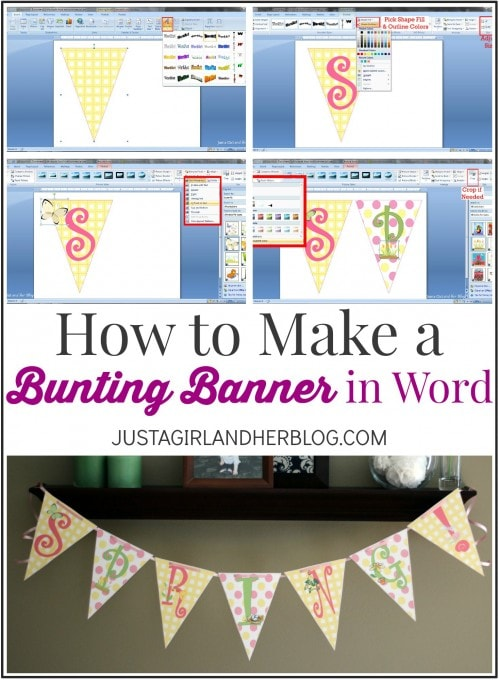 How to Create a Bunting Banner in Word | JustAGirlAndHerBlog.com