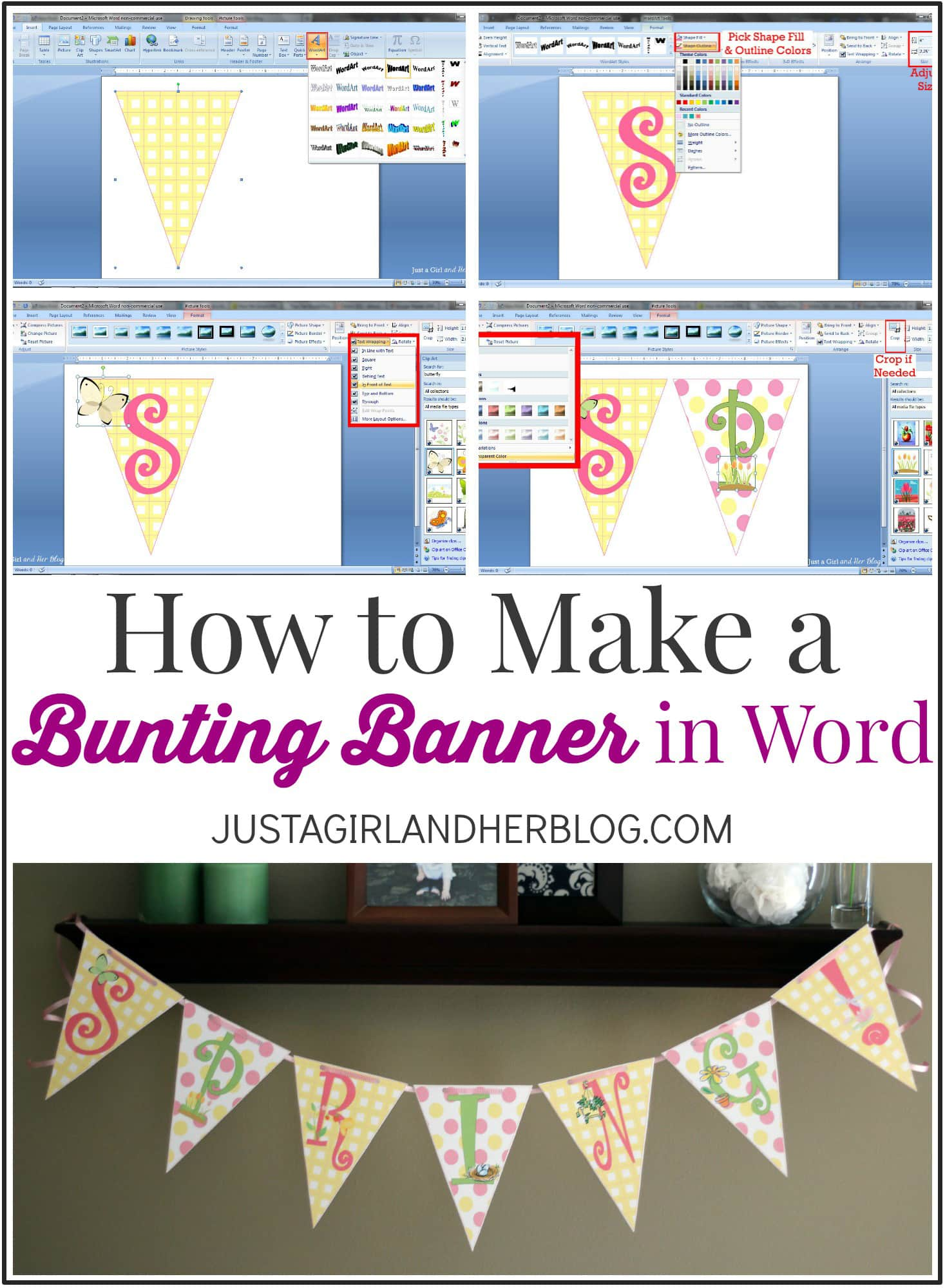 How to Make a Bunting Banner in Word  with Clip Art Tips and Tricks pJtnWrFL
