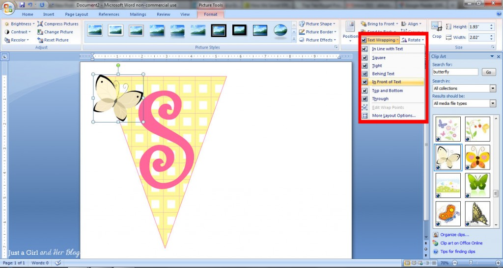 How to make a bunting banner in word with clip art tips