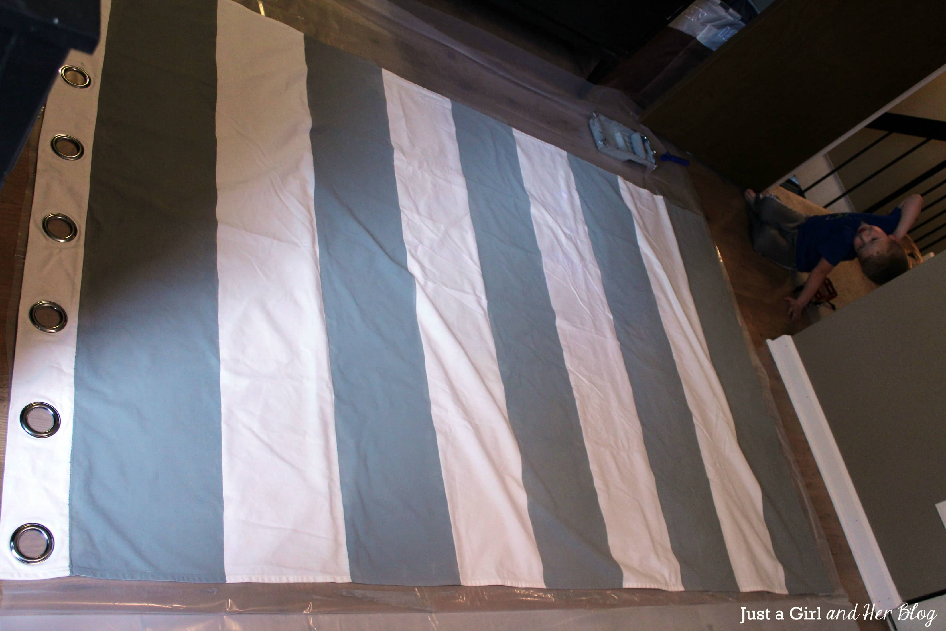 Black and white vertical stripe curtains - Curtains With Painted Stripes Tape Off