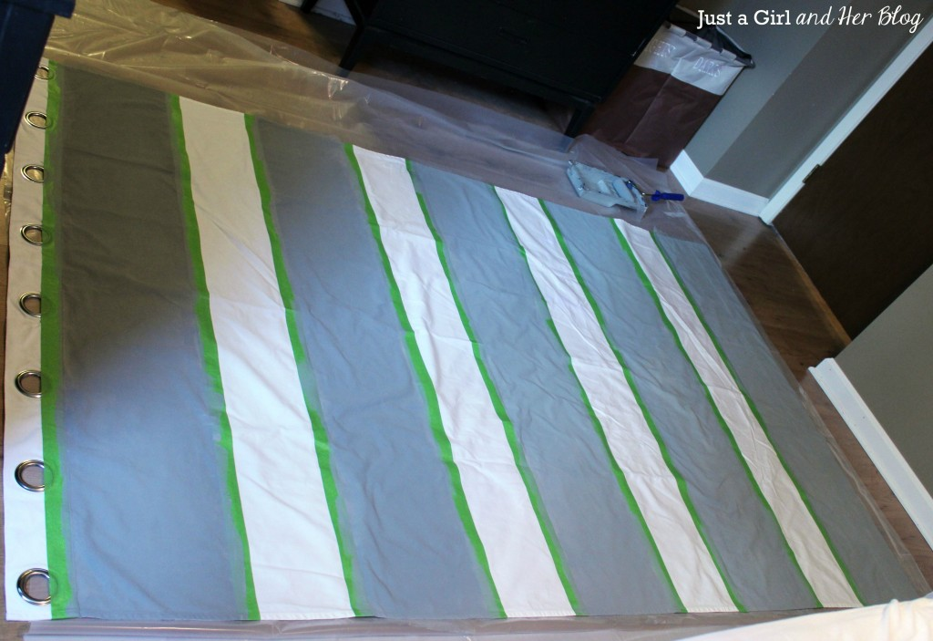 Curtains with Painted Stripes, Tape On