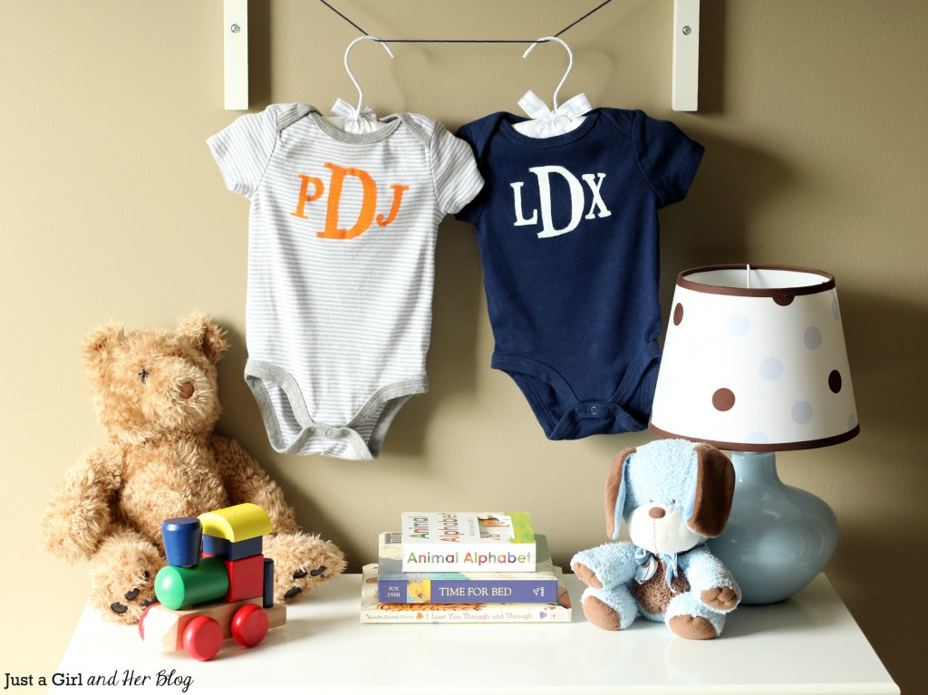 DIY Monogrammed Onesies for Twins