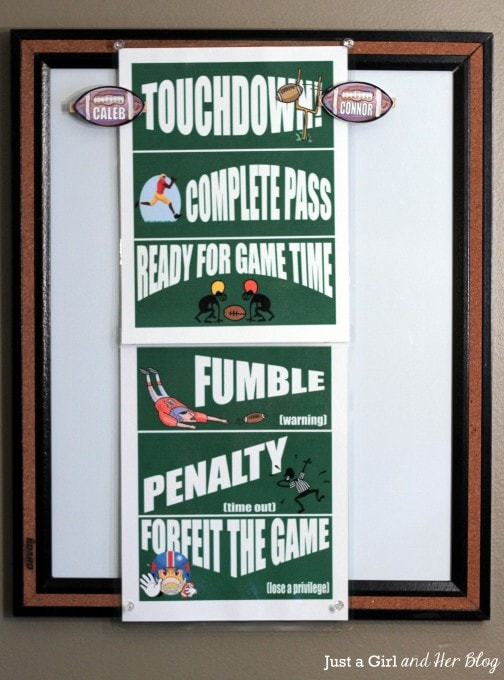 Football Behavior Chart Hanging
