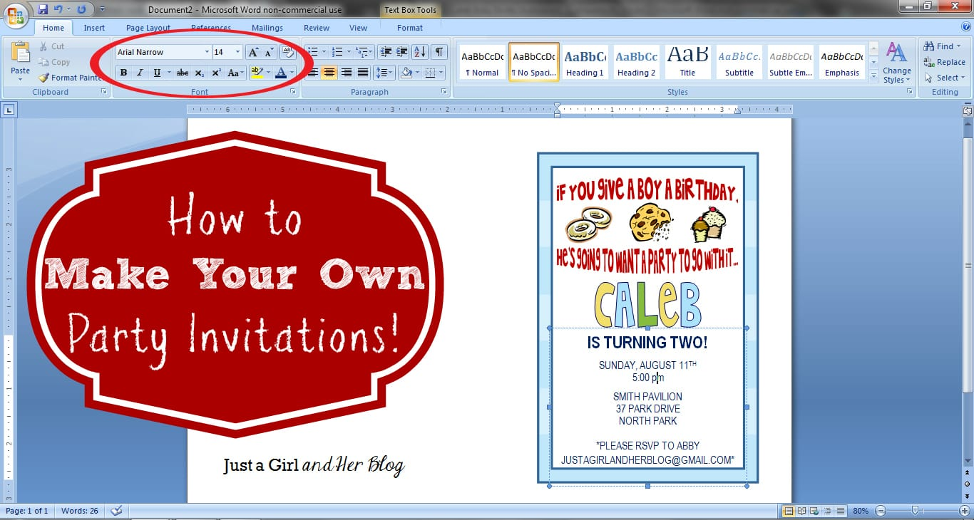 How To Make Your Own Party Invitations Just A Girl And Her Blog - Birthday invitation using ms word