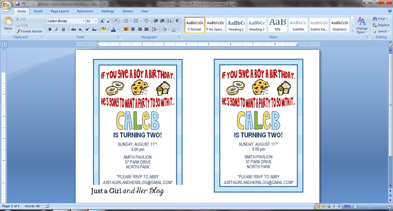 DIY Party Invitations By Just A Girl And Her Blog  How To Make A Birthday Invitation On Microsoft Word