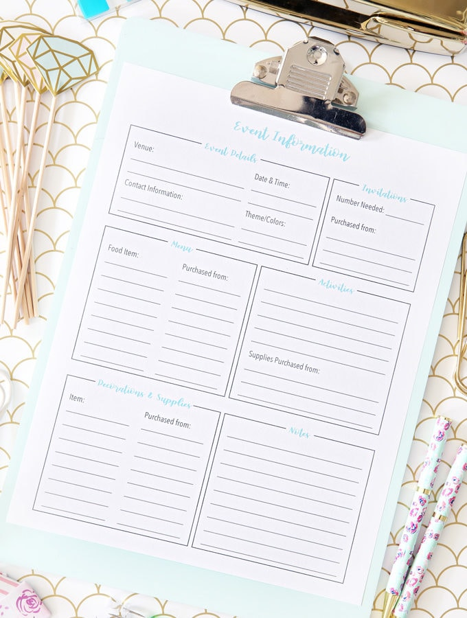 Free Party Planning Printable to Organize Your Event Information
