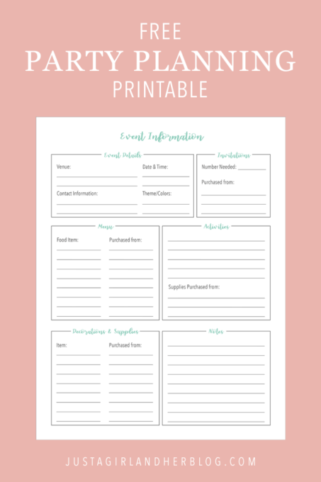 Free Party Planning Printable, Get Organized for Your Next Event