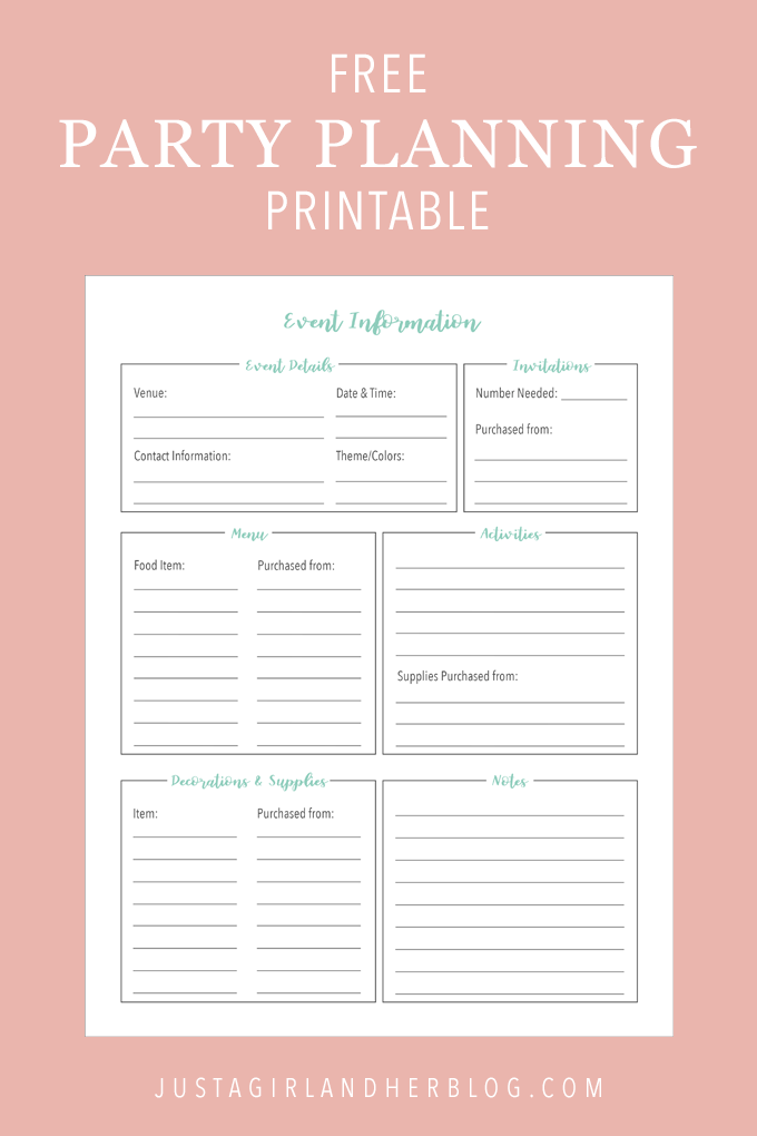 Organize your party planning with these pretty and free printables! There are two cute printable designs to choose from so you can plan the perfect event! | #printable #printables #freeprintables #prettyprintables #freeprintable #partyplanning #eventplanning #organizing #organized #organizingprintable #organize #getorganized