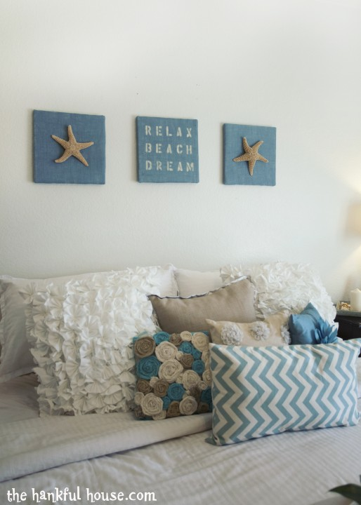 Blue Beachy Bedroom Decor by The Hankful House