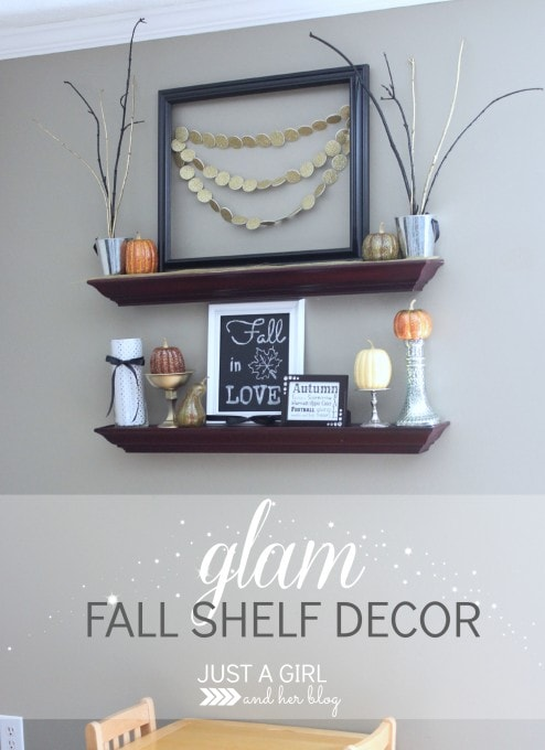 Glam Fall Shelf Decor by Just a Girl and Her Blog
