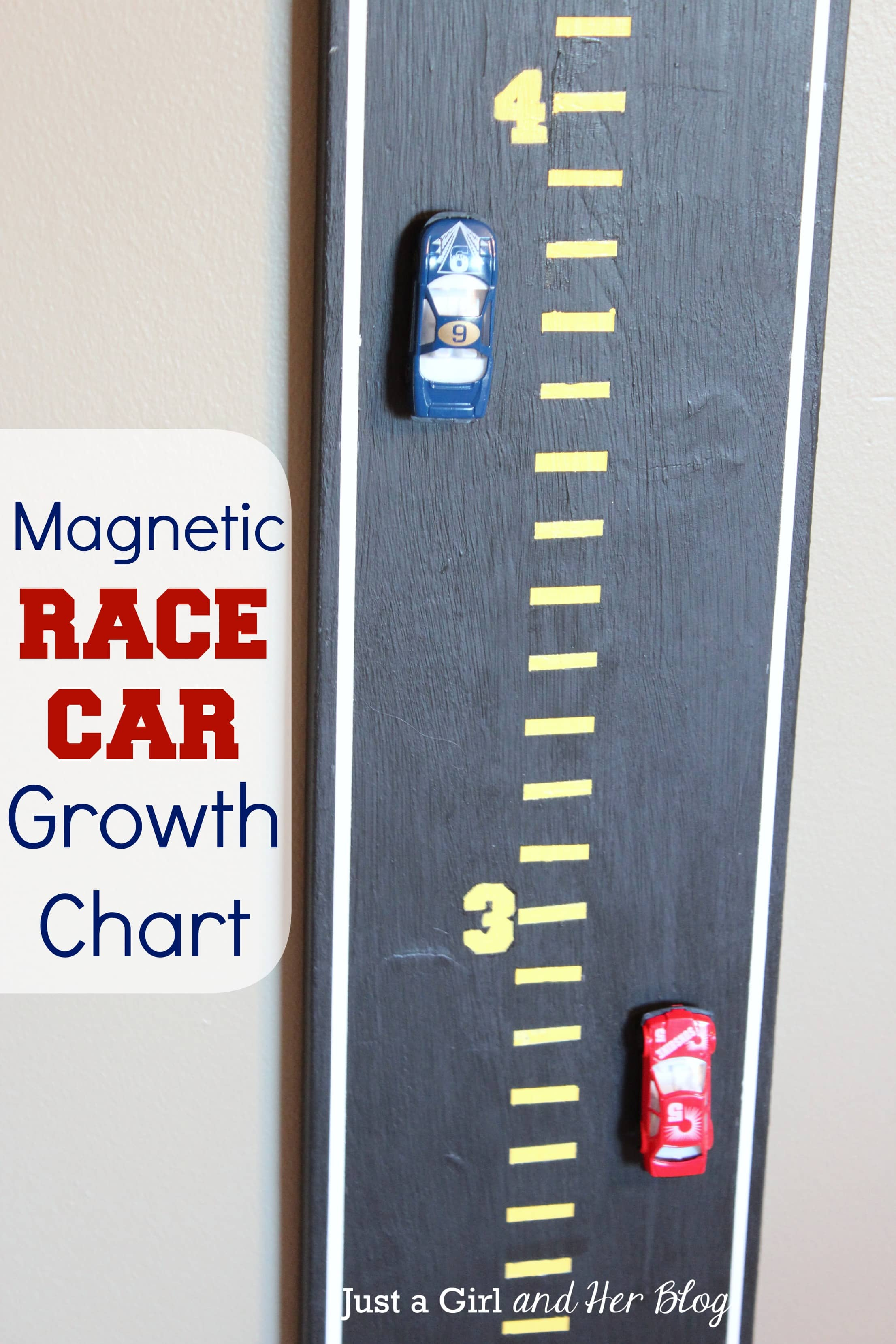 Magnetic Race Car Growth Chart Just a Girl and Her Blog