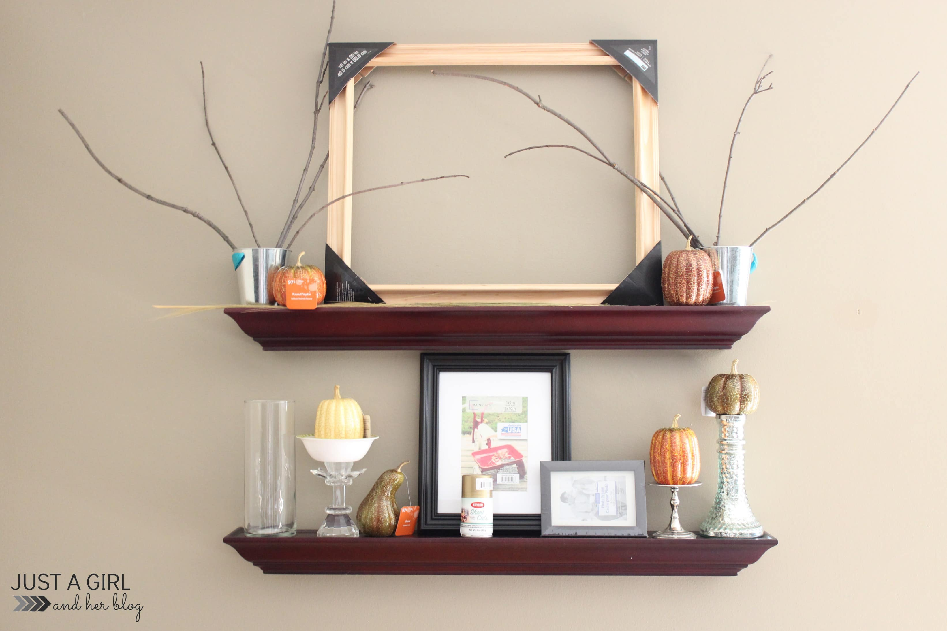 Glam fall shelf decor a high end look for less just a for Decoration shelf