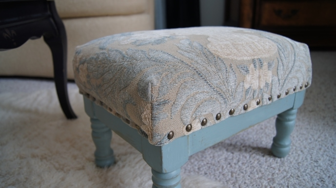 Blue Reupholstered Stool by Confessions of a Serial DIY'er