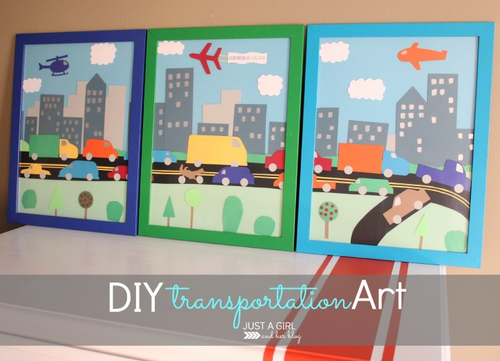 DIY Transportation Art by Just a Girl and Her Blog