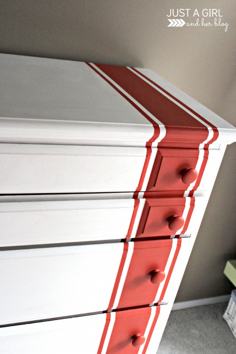 Racing Stripes Dresser Update by Just a Girl and Her Blog