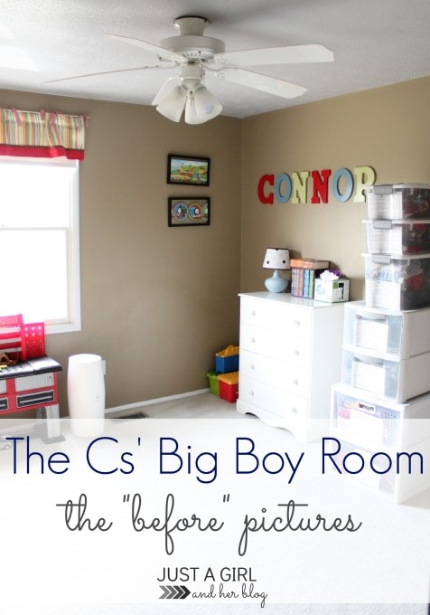 The Cs' Big Boy Room Before Pictures by Just a Girl and Her Blog