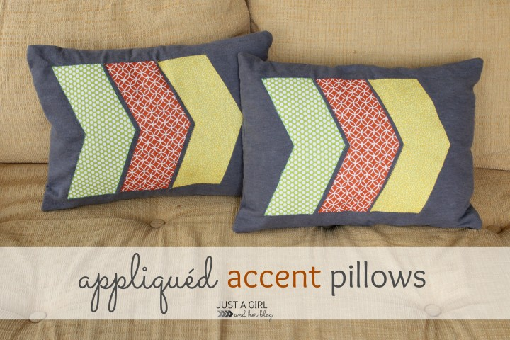 Appliqued Accent Pillows by Just a Girl and Her Blog