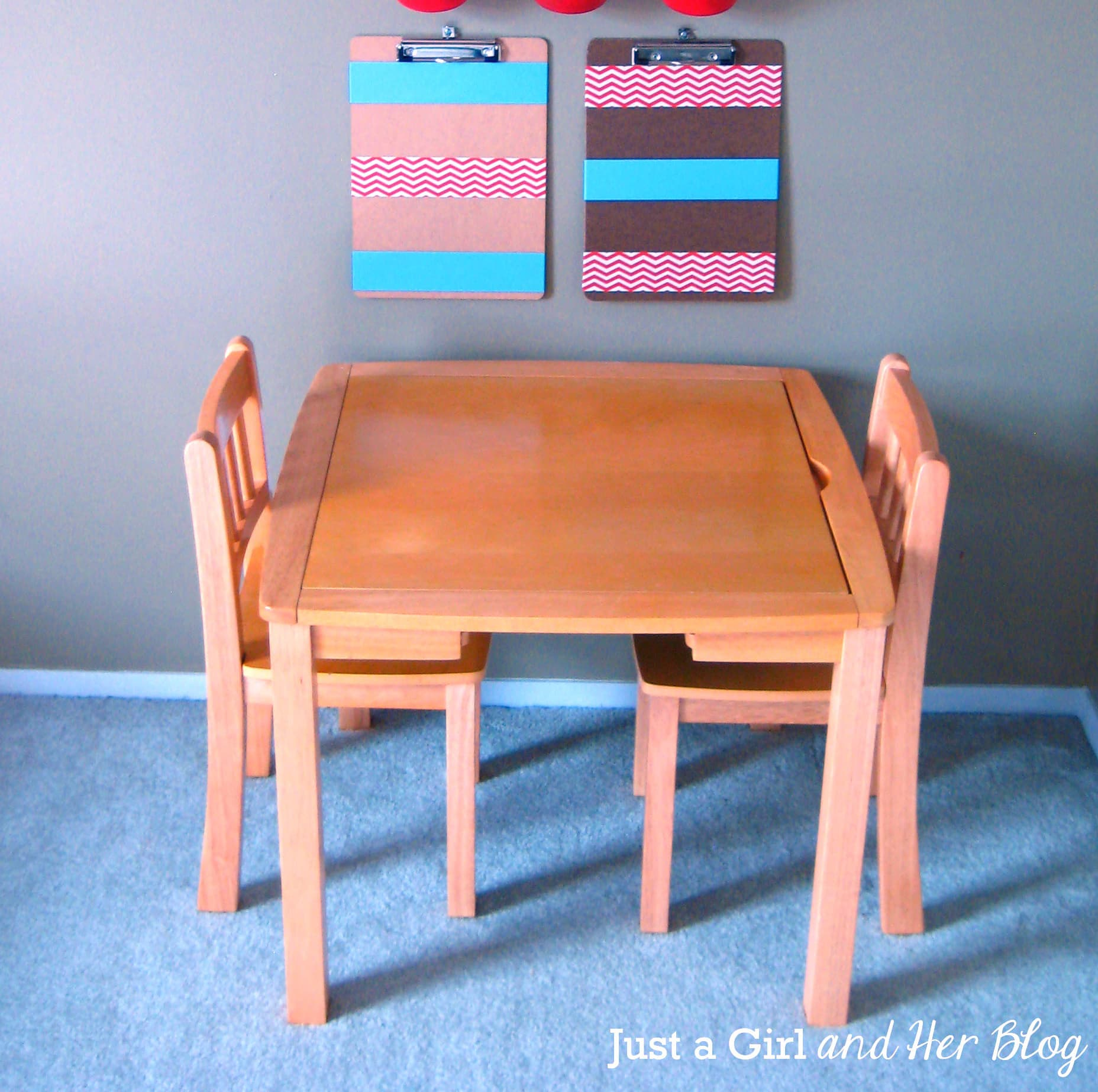 A Fun Kids 39 Craft Table Makeover Just A Girl And Her Blog
