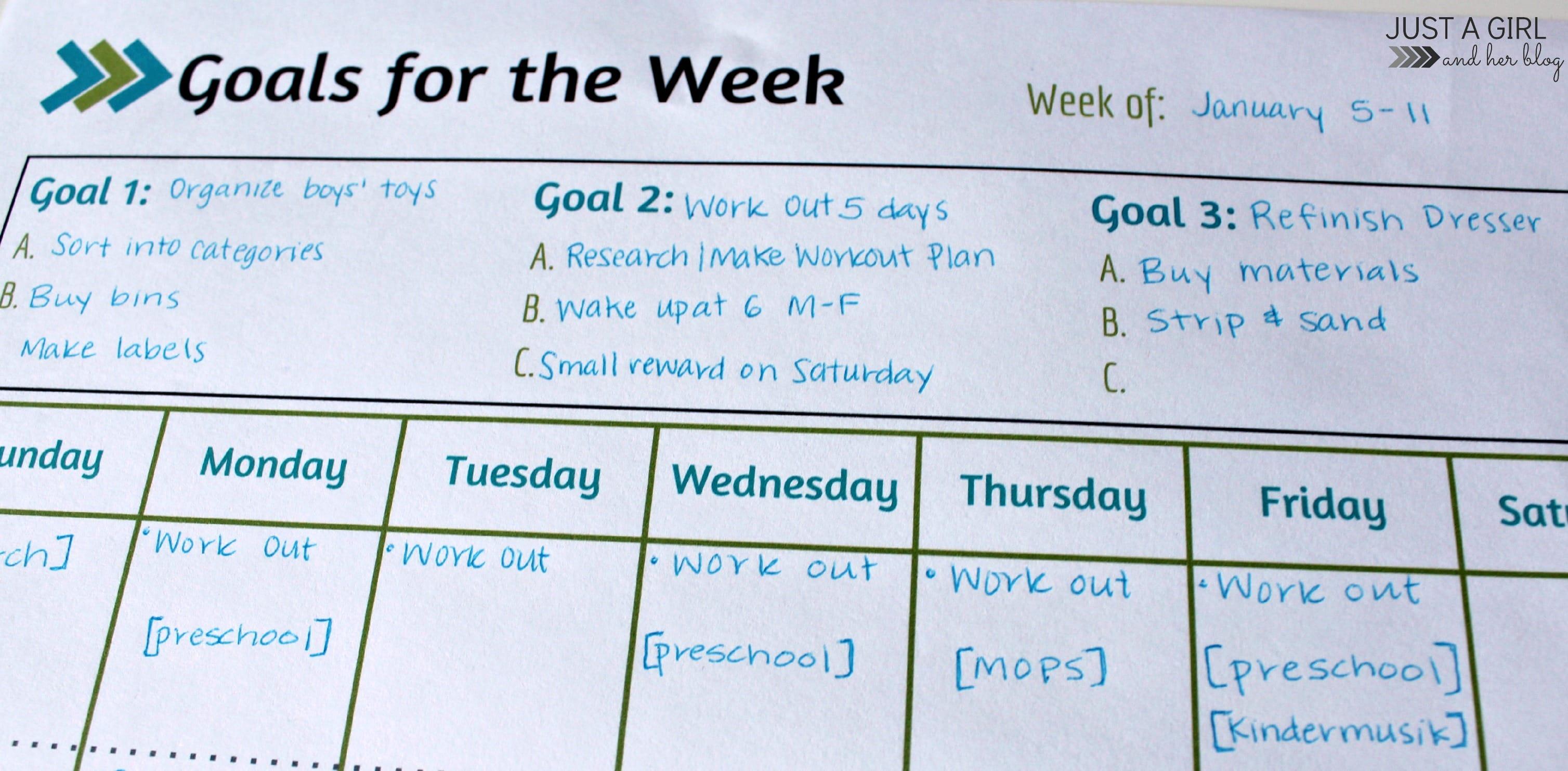 Weekly Goals Printable Free