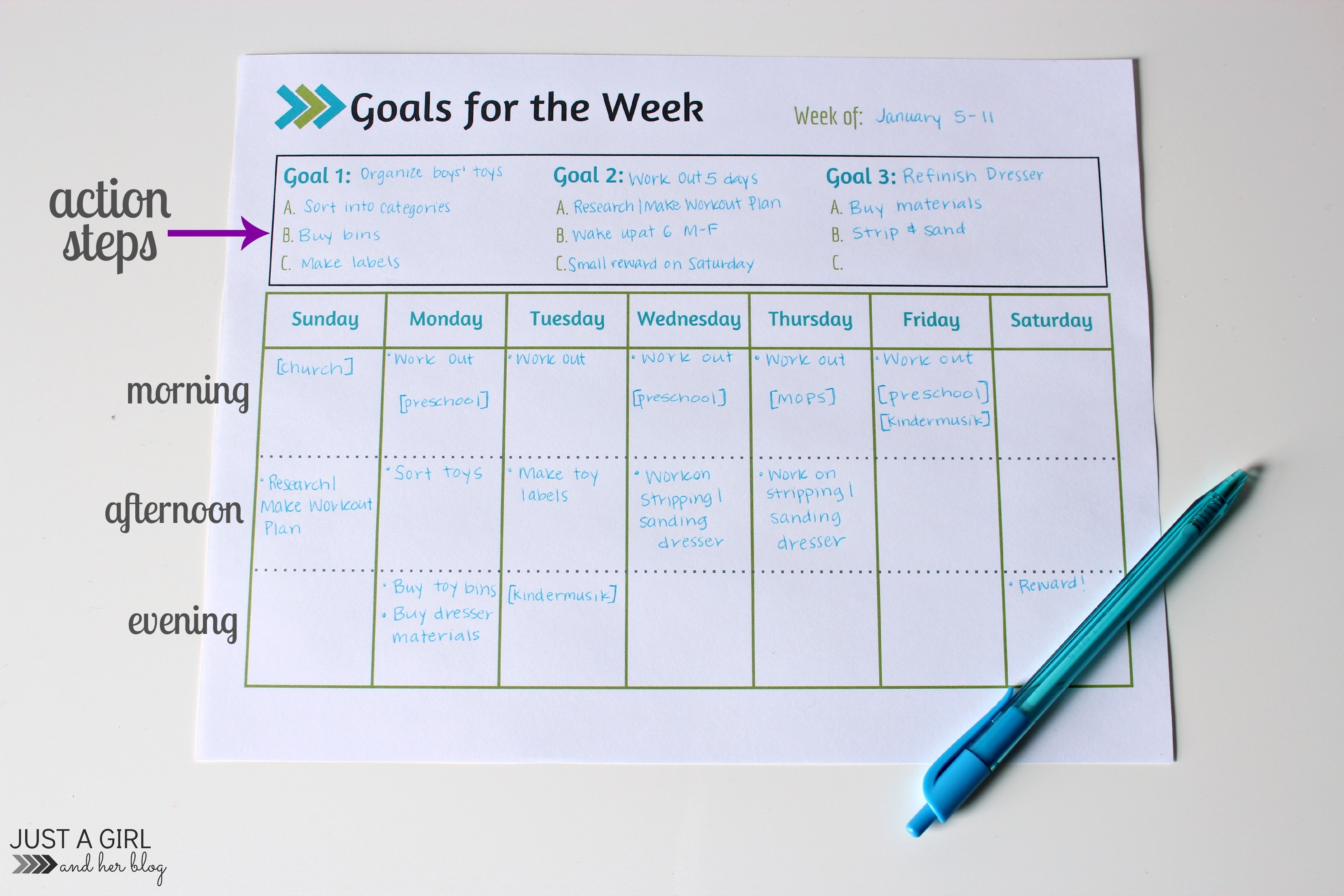 Goals Sheet Labeled  Days Of The Week Calendar Template
