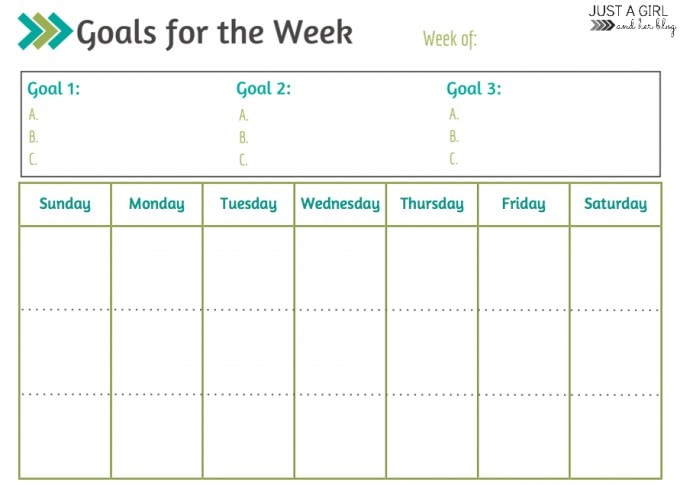 Goals for the Week Blank