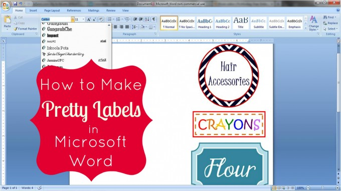 How to Make Pretty Labels in Microsoft Word by Just a Girl and Her Blog