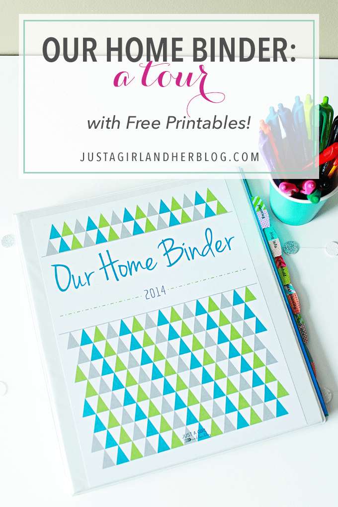 Our home binder a tour with free printables just a for Construction organizer notebook