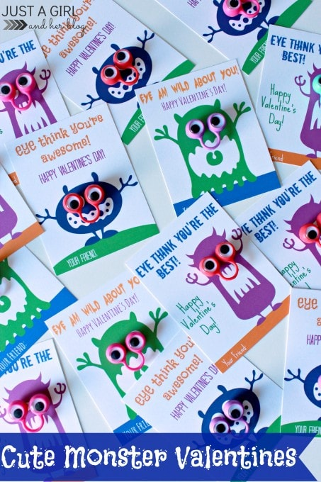 Cute Monster Valentines by Just a Girl and Her Blog