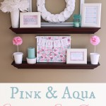 Pink and Aqua Valentine's Shelf Decor