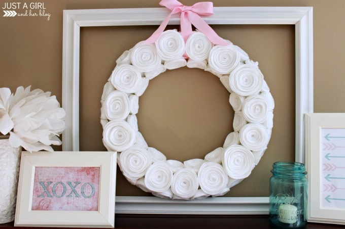 Pink and Aqua Valentine's Shelf Decor by Just a Girl and Her Blog