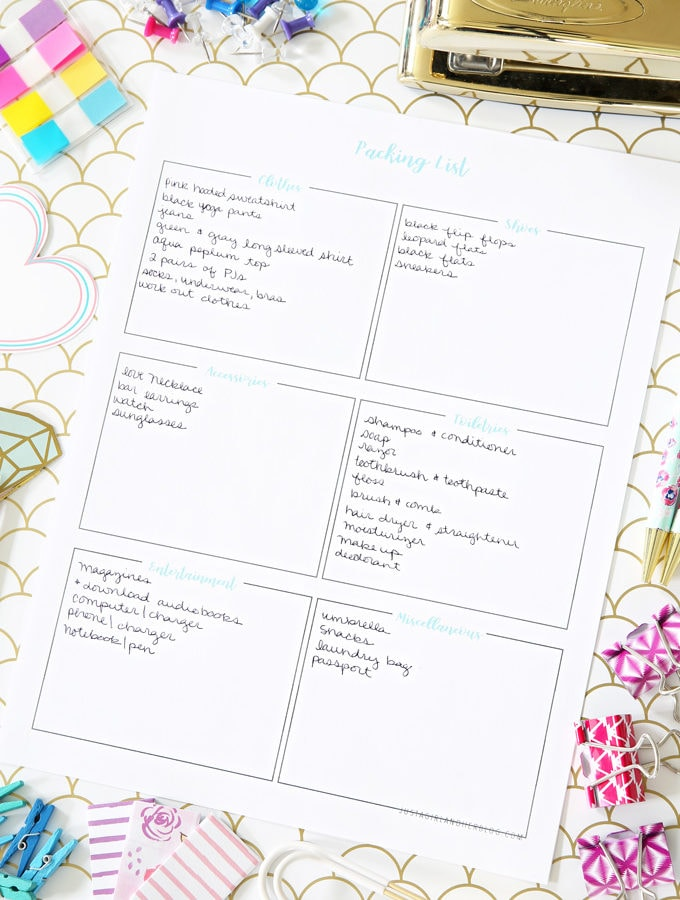 Free Printable Packing List for Getting Organized when You Travel on Vacation