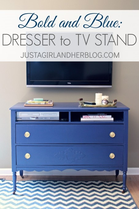 Bold And Blue A Dresser To Tv Stand Transformation Just A Girl