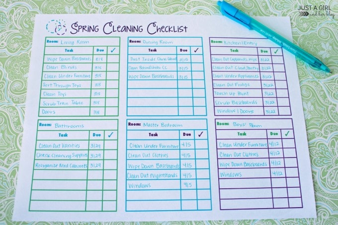 Spring Cleaning Checklist by Just a Girl and Her Blog