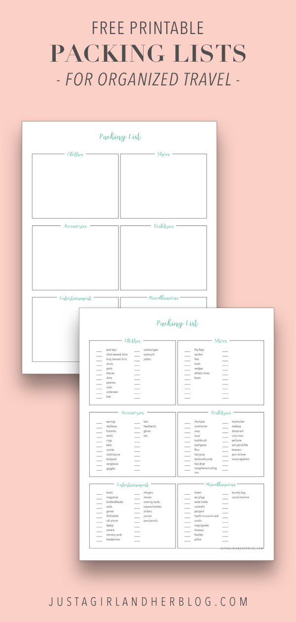 Free Printable Packing Lists For Organized Travel And Vacation