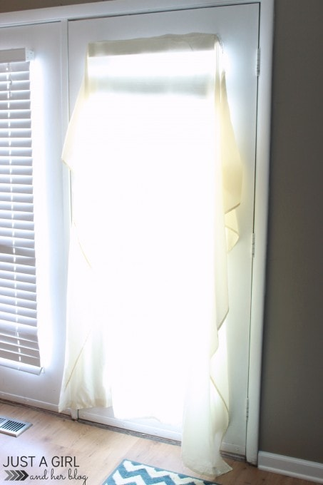 Use curtain sheers or even a shower curtain to diffuse harsh sunlight! Just a Girl and Her Blog