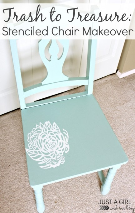 Stenciled Chair Makeover by Just a Girl and Her Blog
