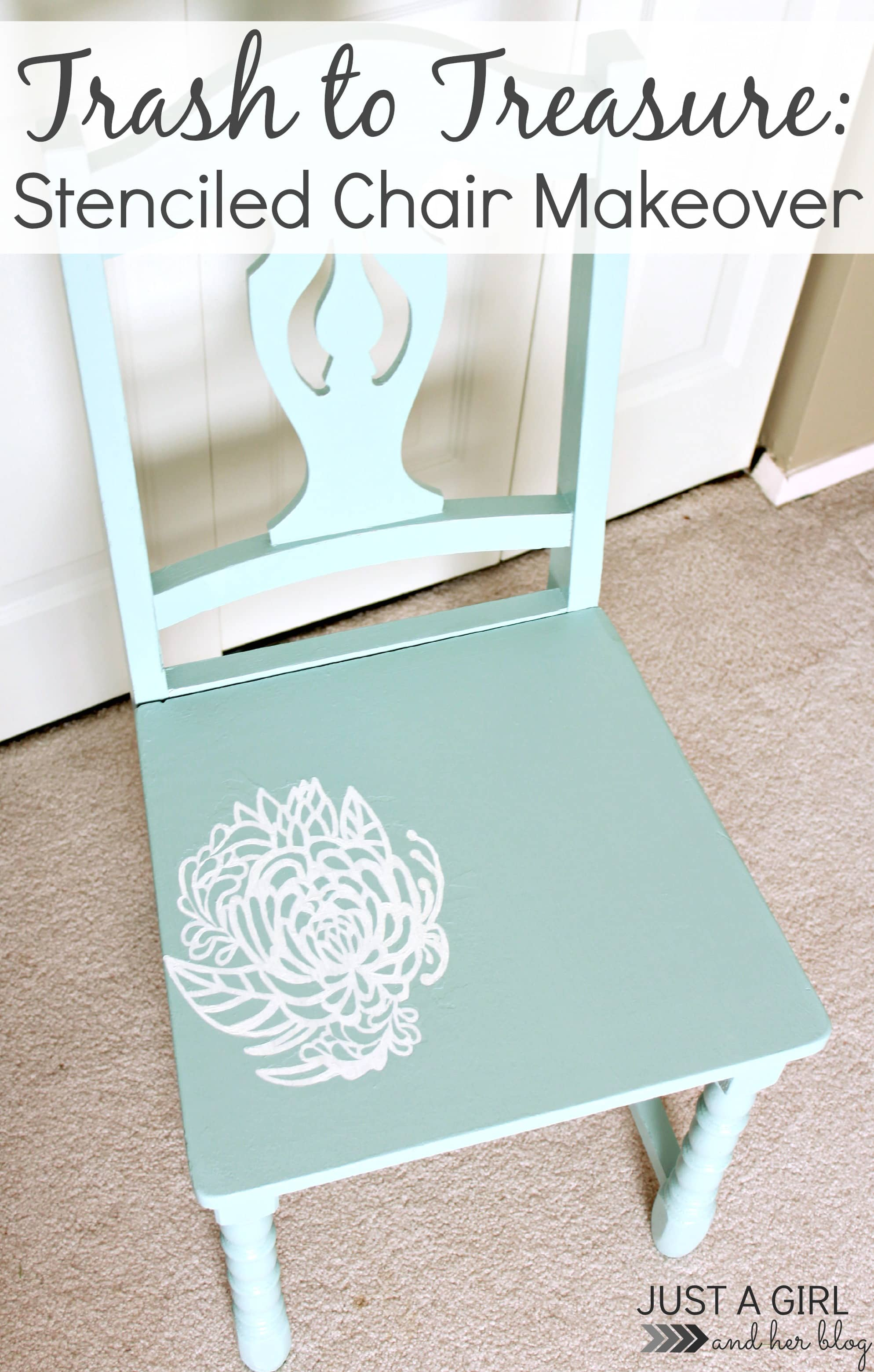 trash to treasure stenciled chair makeover