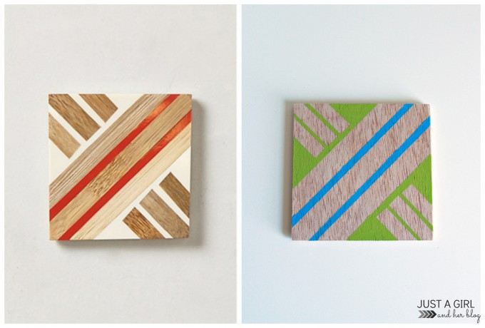 Anthropologie-Inspired Geometric Coasters at JustAGirlAndHerBlog.com