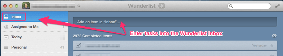 Enter tasks into Wunderlist