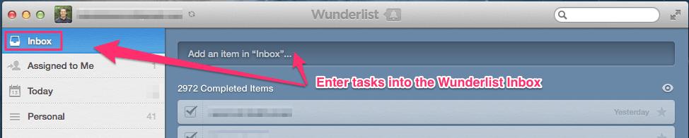 Enter tasks into Wunderlist