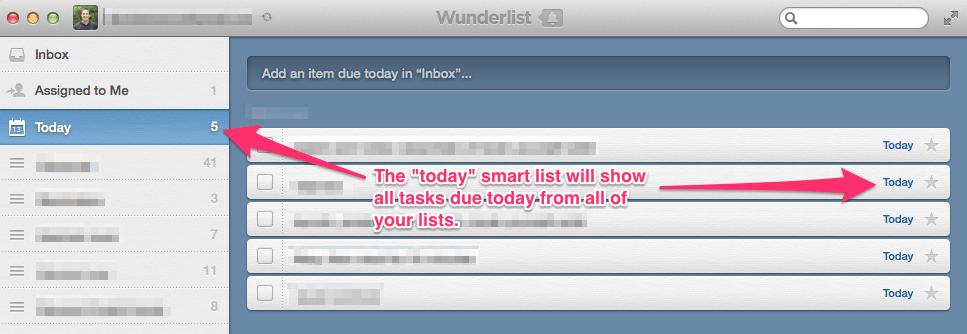 Wunderlist today smartlist